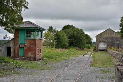 "The closed Ballyglunin Station between Tuam and Athenry. The station is famous for being the location of Castletown Station in the 1952 film ""The Quiet Man"" starring John Wayne and Maureen O'Hara. Looking south towards Athenry and the signal cabin. Mon 06.08.18"