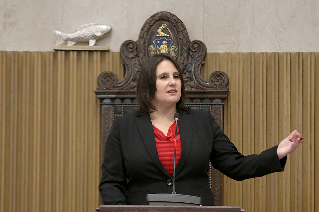 . Former Senator Jennifer L. Flanagan gives her farewell speech on the senate floor on Wednesday morning at the state house. SENTINEL & ENTERPRISE/JOHN LOVE