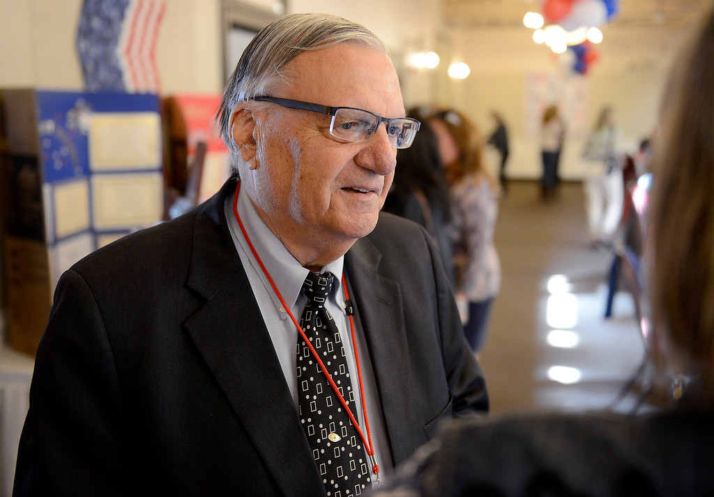 . Joe Arpaio, the former sheriff of Maricopa County in Arizona, greets people at the Monterey Peninsula Republican Women Federated luncheon in Carmel Valley on Thursday, September 13, 2018.  (Vern Fisher - Monterey Herald)