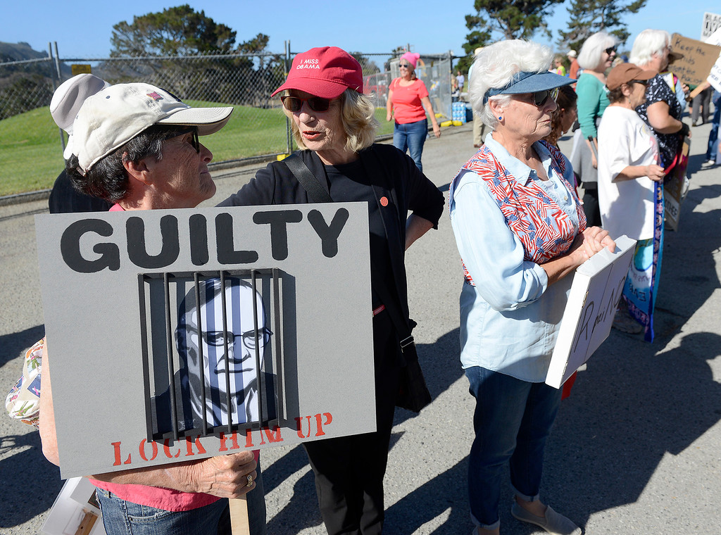 . Susan Ricketson, Nancy Harray and Linda Cruzan all from Monterey protested Joe Arpaio, the former sheriff of Maricopa County in Arizona, as he spoke at the Monterey Peninsula Republican Women Federated luncheon in Carmel Valley on Thursday, September 13, 2018.  (Vern Fisher - Monterey Herald)