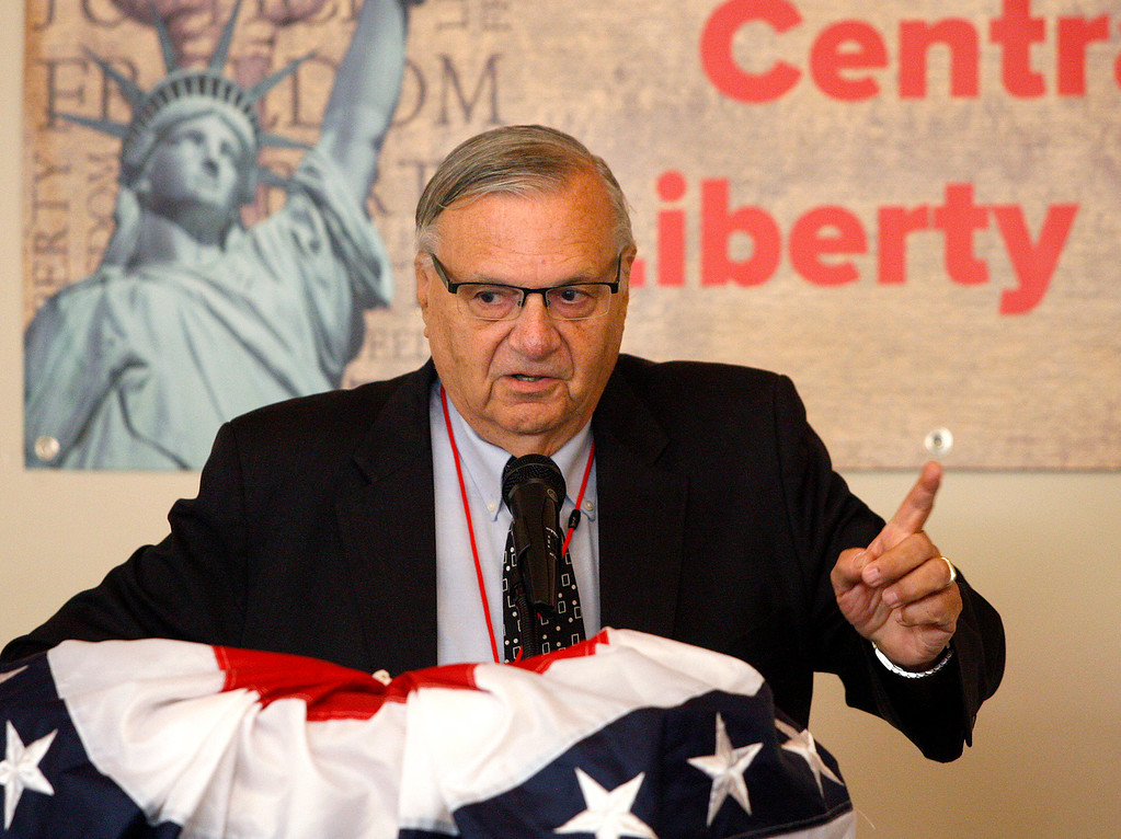 . Joe Arpaio, the former sheriff of Maricopa County in Arizona, speaks at the Monterey Peninsula Republican Women Federated luncheon in Carmel Valley on Thursday, September 13, 2018.  (Vern Fisher - Monterey Herald)