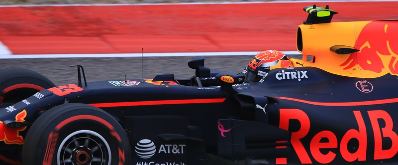 Red Bull Racing driver Max Verstappen at about 150 MPH. A talented, rising star in Formula One.