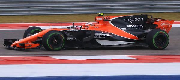 Alonso's teammate Stoffel Vandoorne captured at speed in turn 4.