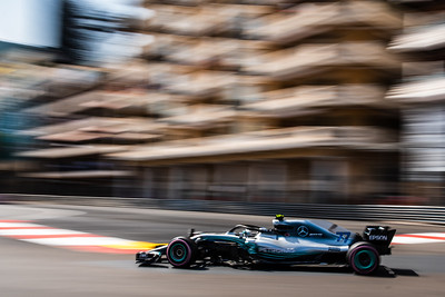 Monte Carlo/Monaco - 05/26/2018 - #77 Valtteri BOTTAS (FIN) in his Mercedes W09 during qualifying for the 2018 Monaco Grand Prix