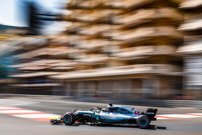 Monte Carlo/Monaco - 05/26/2018 - #44 Lewis HAMILTON (GBR) in his Mercedes W09 during qualifying for the 2018 Monaco Grand Prix