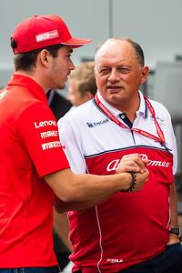Frédéric Vasseur, Alfa Romeo and #16 Charles Leclerc, Ferrari, Belgium, 2019
