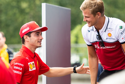 #16 Charles Leclerc, Ferrari and #9 Marcus Ericsson, Alfa Romeo, Belgium, 2019