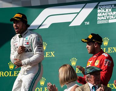 44 Lewis Hamilton, Mercedes ,  5 Sebastian Vettel, Ferrari, Hungary, 2019