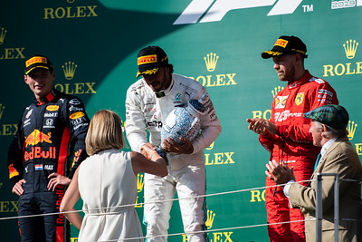 44 Lewis Hamilton, Mercedes, 33 Max Verstappen, Red Bull and 5 Sebastian Vettel, Ferrari, Hungary, 2019
