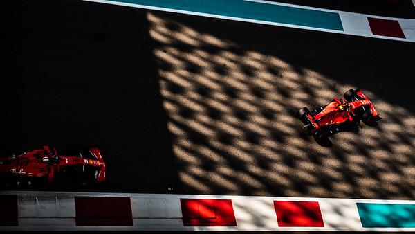16 Charles Leclerc, Ferrari ,  5 Sebastian Vettel, Ferrari, UAE, 2019