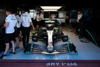 Mercedes W10 of #77 Valtteri Bottas (FIN) in the team's garage, Abu Dhabi 2019