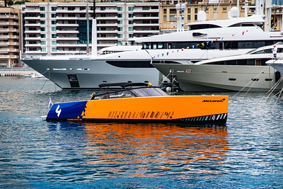 Monte Carlo/Monaco - 24/05/2019 - #4 Lando NORRIS' (GBR, McLaren) special Vandutch 40 boat in the harbor on Friday