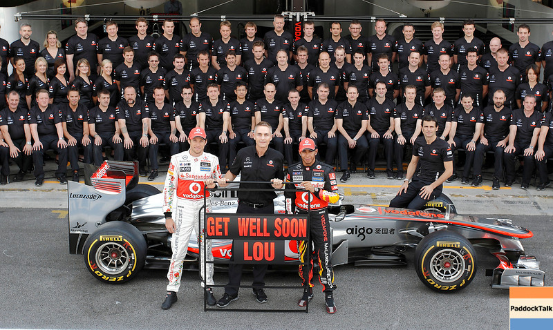 Team of Vodafone McLaren Mercedes with Jenson Button,  Martin Whitmarsh and Lewis Hamilton at Brazilian GP