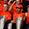 Team celebrates victory of Lewis Hamilton and P3 of Jenson Button at Abu Dhabi GP
