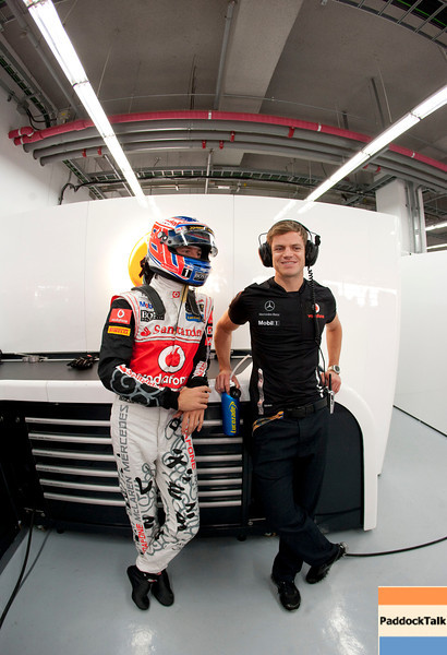Jenson Button and his physio Mike Collier at Korean GP