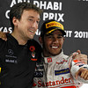 Andy Latham and Lewis Hamilton at Abu Dhabi GP