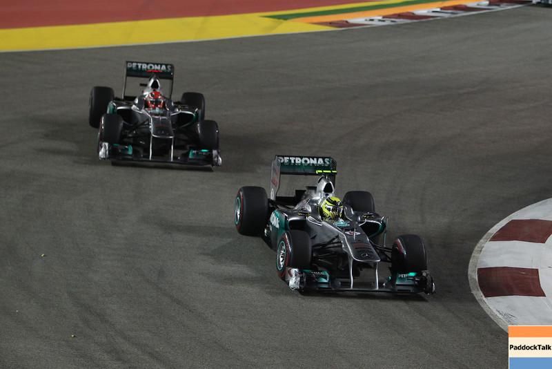 Motorsports: FIA Formula One World Championship 2011, Grand Prix of Singapore, 08 Nico Rosberg (GER, Mercedes GP Petronas F1 Team), 07 Michael Schumacher (GER, Mercedes GP Petronas F1 Team),