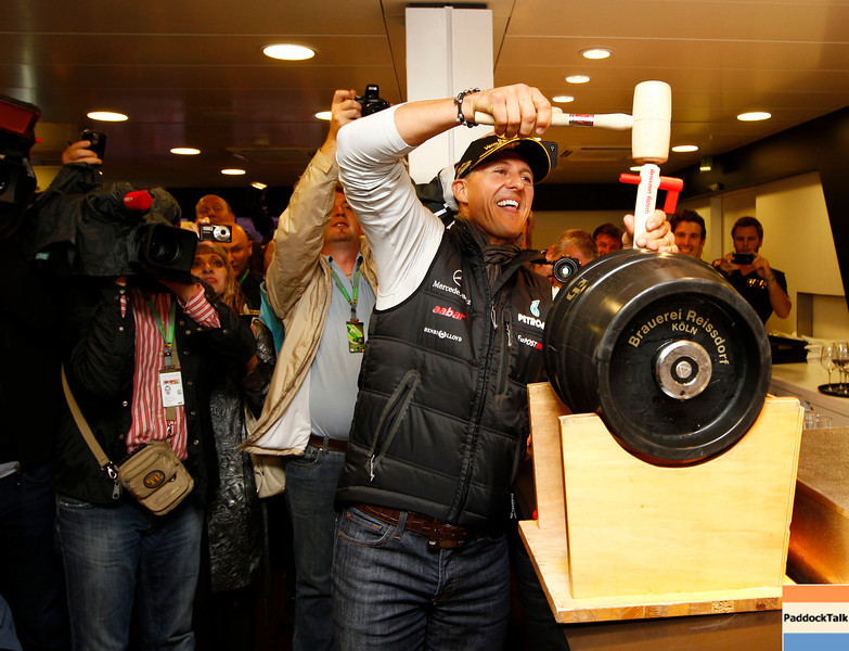 celebration of twenty years in Formula One of Michael Schumacher #7 (GER), Mercedes GP Petronas F1 Team(GER).<br /> Formula 1, 12-th race of the season 2011 SHELL BELGIAN GRAND PRIX, Spa-Francorchamps. Foto: activepictures.cz/jiri krenek
