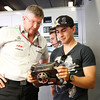 Motorsports: FIA Formula One World Championship 2011, Grand Prix of Spain, Ross Brawn (GBR, Mercedes GP Petronas F1 Team), Jorge Lorenzo (ESP, MotoGP-Driver)