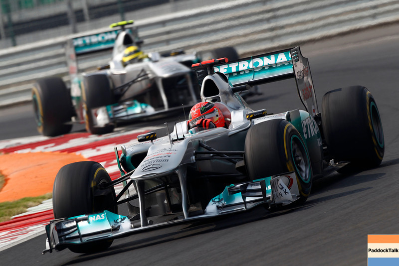 Motorsports: FIA Formula One World Championship 2011, Grand Prix of India, 07 Michael Schumacher (GER, Mercedes GP Petronas F1 Team),   08 Nico Rosberg (GER, Mercedes GP Petronas F1 Team),