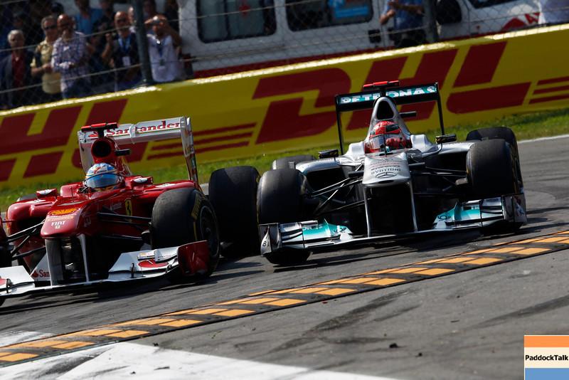 Motorsports: FIA Formula One World Championship 2011, Grand Prix of Italy, 05 Fernando Alonso (ESP, Scuderia Ferrari Marlboro), 07 Michael Schumacher (GER, Mercedes GP Petronas F1 Team),