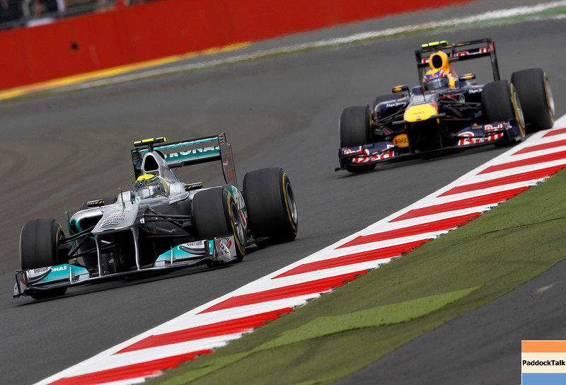 Motorsports: FIA Formula One World Championship 2011, Grand Prix of Great Britain, 08 Nico Rosberg (GER, Mercedes GP Petronas F1 Team), 02 Mark Webber (AUS, Red Bull Racing),
