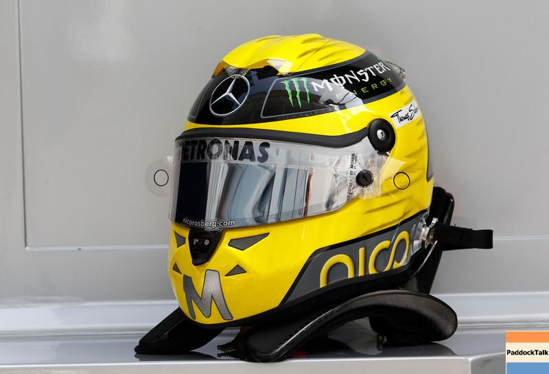 Motorsports: FIA Formula One World Championship 2011, Grand Prix of Italy, helmet of 08 Nico Rosberg (GER, Mercedes GP Petronas F1 Team),