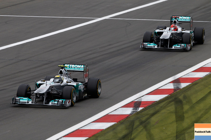 "Motorsports: FIA Formula One World Championship 2011, Grand Prix of Germany, 08 Nico Rosberg (GER, Mercedes GP Petronas F1 Team), 07 Michael Schumacher (GER, Mercedes GP Petronas F1 Team),  *** Local Caption *** +++  <a href=""http://www.hoch-zwei.net"">http://www.hoch-zwei.net</a> +++ copyright: HOCH ZWEI +++"