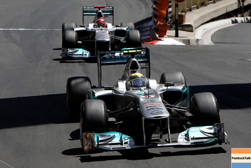 Motorsports: FIA Formula One World Championship 2011, Grand Prix of Monaco, 08 Nico Rosberg (GER, Mercedes GP Petronas F1 Team), 07 Michael Schumacher (GER, Mercedes GP Petronas F1 Team),