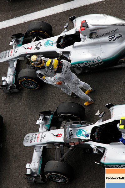 Motorsports: FIA Formula One World Championship 2011, Grand Prix of Belgium, 07 Michael Schumacher (GER, Mercedes GP Petronas F1 Team),   08 Nico Rosberg (GER, Mercedes GP Petronas F1 Team),