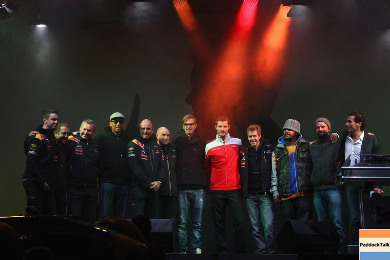 GEPA-22101199518 - FORMULA 1 - World Championship Party. Image shows the band Soehne Mannheims, Martin Tomczyk (GER) and Sebastian Vettel (GER/ Red Bull Racing). Photo: Getty Images/ Alex Grimm - For editorial use only. Image is free of charge