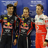 GEPA-24091199006 - FORMULA 1 - Grand Prix of Singapore. Image shows Mark Webber, Sebastian Vettel (GER/ Red Bull Racing) and Jenson Button (GBR/ McLaren Mercedes). Keywords: podium. Photo: Getty Images/ Mark Thompson - For editorial use only. Image is free of charge