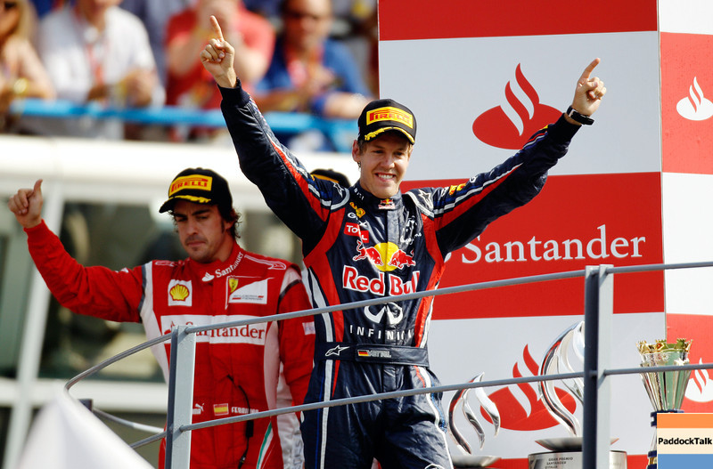 GEPA-11091199001 - FORMULA 1 - Grand Prix of Italy. Image shows Sebastian Vettel (GER/ Red Bull Racing). Keywords: podium, award ceremony. Photo: Getty Images/ Paul Gilham - For editorial use only. Image is free of charge