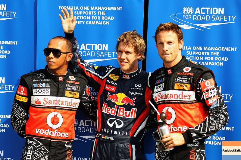 GEPA-10091199006 - FORMULA 1 - Grand Prix of Italy. Image shows Lewis Hamilton (GBR/ McLaren Mercedes), Sebastian Vettel (GER/ Red Bull Racing) and Jenson Button (GBR/ McLaren Mercedes). Photo: Getty Images/ Mark Thompson - For editorial use only. Image is free of charge