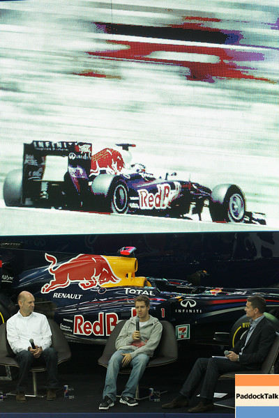 GEPA-19101199002 - FORMULA 1 - Red Bull Racing press conference at the Red Bull Racing factory. Image shows  technical officer Adrian Newey Sebastian Vettel (GER/ Red Bull Racing) and David Coulthard. Photo: Getty Images/ Dean Mouhtaropoulos - For editorial use only. Image is free of charge