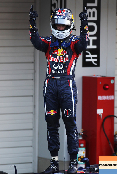GEPA-09101199025 - FORMULA 1 - Grand Prix of Japan. Image shows the rejoicing of Sebastian Vettel (GER/ Red Bull Racing). Photo: Getty Images/ Mark Thompson - For editorial use only. Image is free of charge