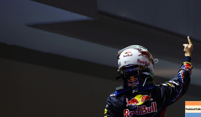 GEPA-25091199013 - FORMULA 1 - Grand Prix of Singapore. Image shows the rejoicing of Sebastian Vettel (GER/ Red Bull Racing). Photo: Getty Images/ Vladimir Rys - For editorial use only. Image is free of charge