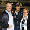 GEPA-27081199002 - FORMULA 1 - Grand Prix of Belgium, Spa Francorchamps. Image shows Mark Webber (AUS/ Red Bull Racing) with his parents Alan and Diane as he celebrates his 35th birthday.  Photo: Getty Images/ Mark Thompson - For editorial use only. Image is free of charge