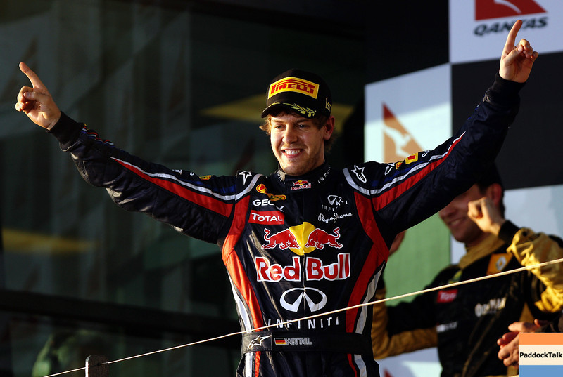 GEPA-27031199018 - FORMULA 1 - Grand Prix of Australia, award ceremony. Image shows the rejoicing of Sebastian Vettel (GER/ Red Bull Racing). Photo: Getty Images/ Paul Gilham - For editorial use only. Image is free of charge
