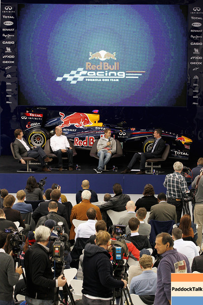 GEPA-19101199001 - FORMULA 1 - Red Bull Racing press conference at the Red Bull Racing factory. Image shows team principal Christian Horner, technical officer Adrian Newey Sebastian Vettel (GER/ Red Bull Racing) and David Coulthard. Photo: Getty Images/ Dean Mouhtaropoulos - For editorial use only. Image is free of charge