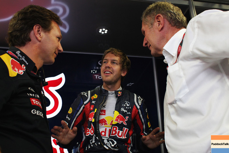 GEPA-09091199007 - FORMULA 1 - Grand Prix of Italy. Image shows team principer Christian Horner (Red Bull Racing), Sebastian Vettel (GER/ Red Bull Racing) and Helmut Marko (Red Bull). Photo: Getty Images/ Vladimir Rys - For editorial use only. Image is free of charge