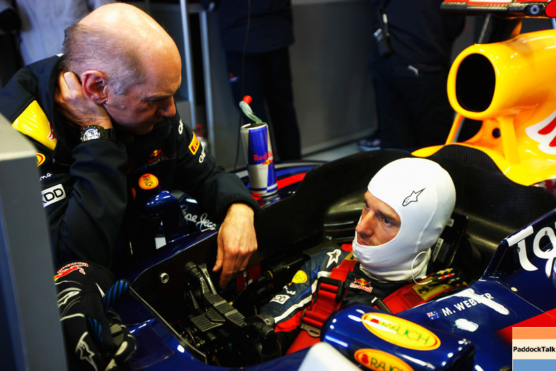 GEPA-03021199018 - FORMULA 1 - Testing in Valencia. Image shows chief technical oficer Adrian Newey (Red Bull Racing) and Mark Webber (AUS/ Red Bull Racing). Photo: Mark Thompson/ Getty Images - For editorial use only. Image is free of charge