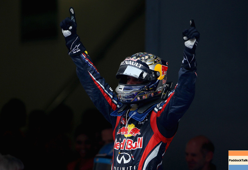 GEPA-30101199028 - FORMULA 1 - Grand Prix of India, Buddh-International-Circuit. Image shows the rejoicing of Sebastian Vettel (GER/ Red Bull Racing). Photo: Getty Images/ Clive Mason - For editorial use only. Image is free of charge