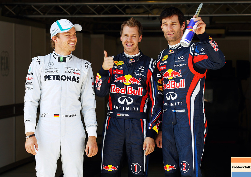 GEPA-07051199008 - FORMULA 1 - Grand Prix of Turkey. Image shows Nico Rosberg (GER/ Mercedes GP), Sebastian Vettel (GER/ Red Bull Racing) and Mark Webber (AUS/ Red Bull Racing). Photo: Mark Thompson/ Getty Images - For editorial use only. Image is free of charge