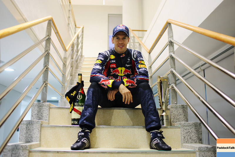 GEPA-16101199017 - FORMULA 1 - Grand Prix of South Korea, Korean International Circuit. Image shows Sebastian Vettel (GER/ Red Bull Racing). Keywords: trophy, champagne. Photo: Getty Images/ Mark Thompson - For editorial use only. Image is free of charge