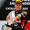 GEPA-22051199018 - FORMULA 1 - Grand Prix of Spain. Image shows Sebastian Vettel (GER/ Red Bull Racing). Keywords: award ceremony, trophy. Photo: Mark Thompson/ Getty Images - For editorial use only. Image is free of charge