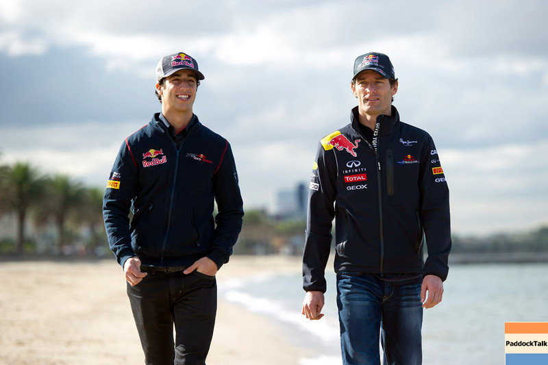 GEPA-23031199002 - FORMULA 1 - Grand Prix of Australia, preview, press talk at St. Kilda Beach. Image shows test driver Daniel Ricciardo and Mark Webber (AUS/ Red Bull Racing). Photo: Getty Images/ Mark Watson - For editorial use only. Image is free of charge