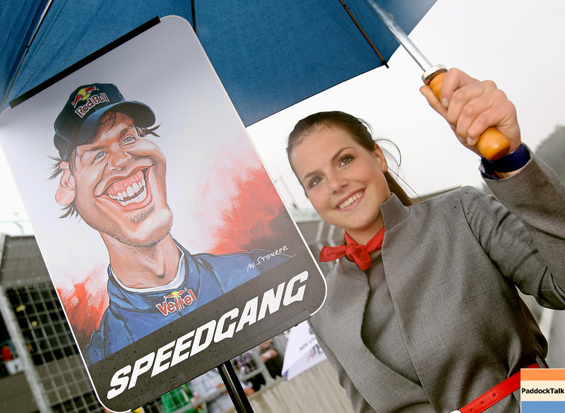 GEPA-14051181090 - SPIELBERG,AUSTRIA,14.MAY.11 - MOTORSPORT, FORMULA 1 - Media Day Red Bull Ring, project Spielberg. Image shows the Gridgirl of Sebastian Vettel (GER/ Red Bull Racing). Keywords: caricature. Photo: GEPA pictures/ Christian Walgram - For editorial use only. Image is free of charge.
