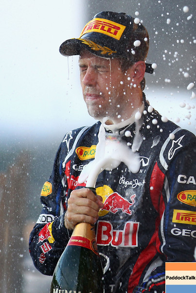 GEPA-09101199020 - FORMULA 1 - Grand Prix of Japan. Image shows the rejoicing of Sebastian Vettel (GER/ Red Bull Racing). Keywords: award ceremony, sparkling wine. Photo: Getty Images/ Clive Mason - For editorial use only. Image is free of charge