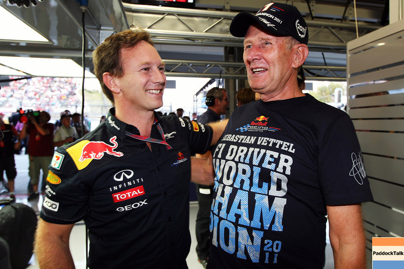 GEPA-09101199040 - FORMULA 1 - Grand Prix of Japan. Image shows team principal Christian Horner and motorsport consultant Helmut Marko (Red Bull Racing). Photo: Getty Images/ Mark Thompson - For editorial use only. Image is free of charge